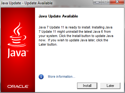 java update available