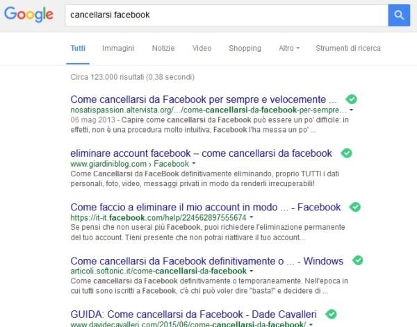 ricerca google cancellarsi facebook