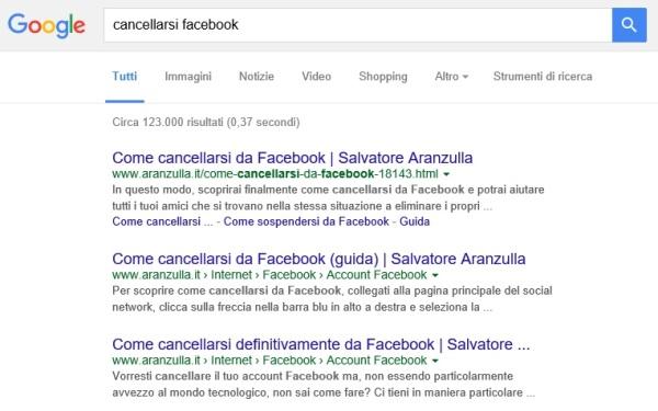 ricerca google salvatore aranzulla cancellarsi facebook