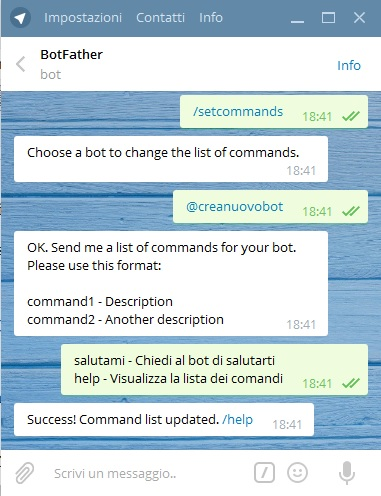 telegram bot creanuovobot setcommands