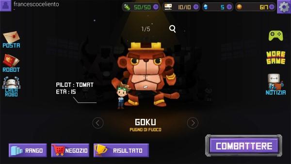 robowar androd game selezione personaggio