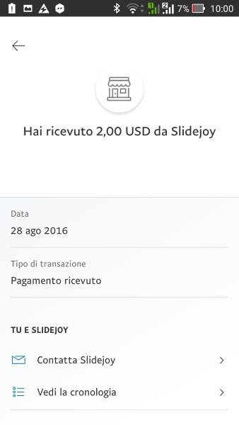 slidejoy android app pagamento