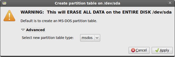 gparted msdos nuova tabella partizionamento