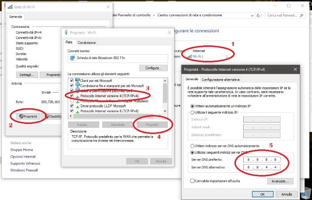 Impostare DNS di Google su Windows 10