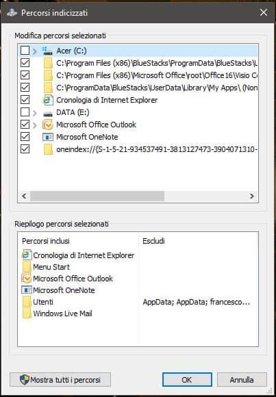Escludere una cartella dalla ricerca di Windows - Percorsi indicizzati